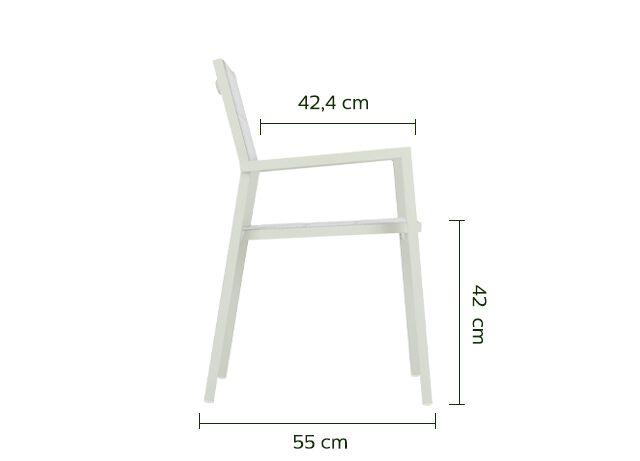 Chaise de jardin empilable en aluminium avec accoudoirs blanc-LORETO