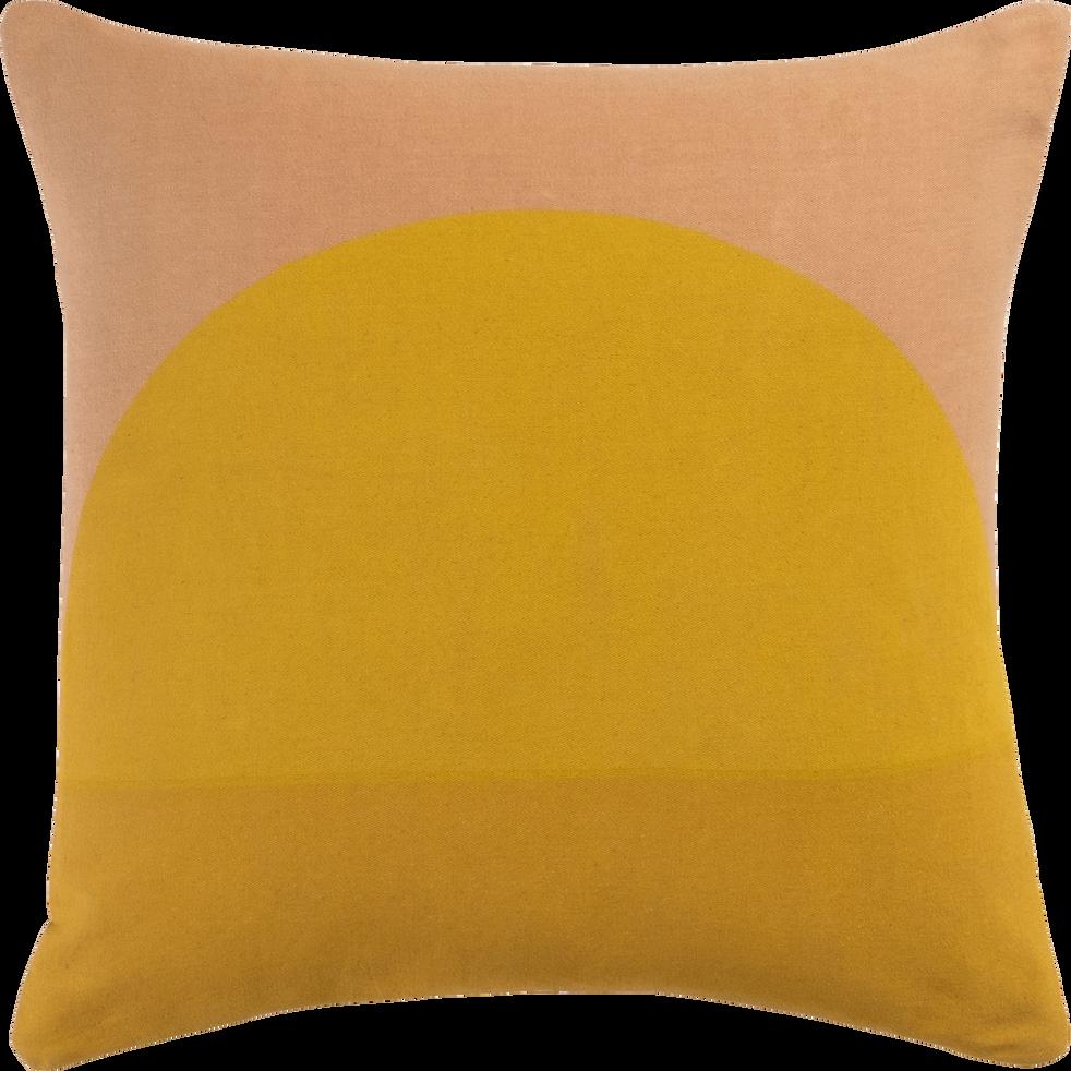 Coussin en coton à motif ocre et jaune 40x40cm-SOLEHL