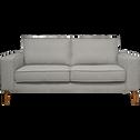 Canapé 2 places fixe en tissu gris restanque pieds hauts-CALIFORNIA
