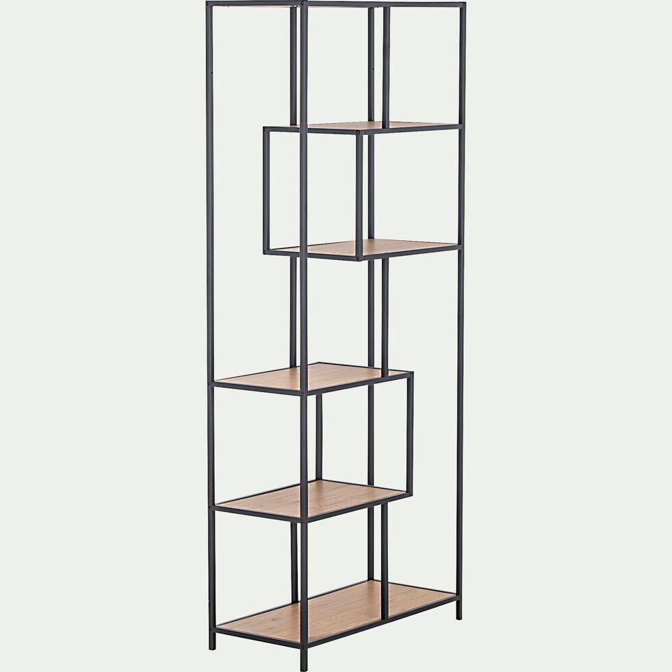 Bibliothèque en métal et en bois - naturel-LARISSA