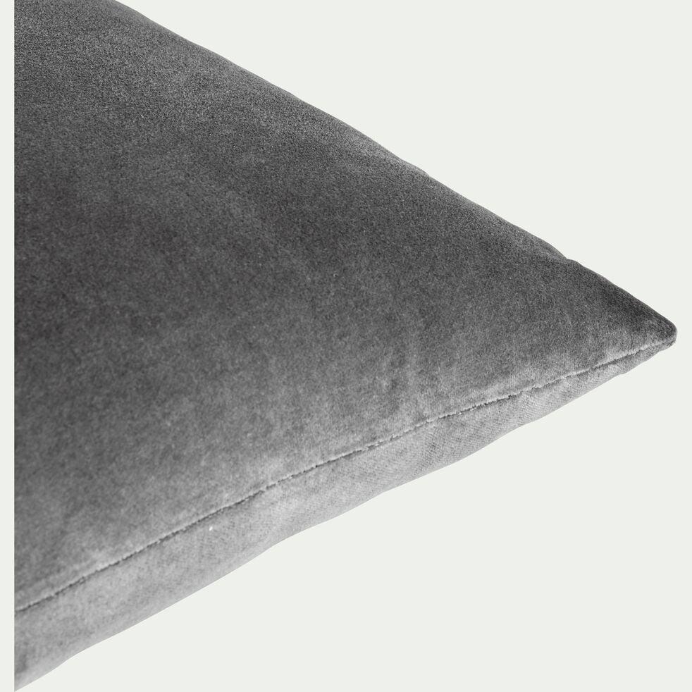 Coussin en velours gris restanque 30x50cm-EDEN
