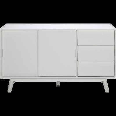 Buffet rétro blanc avec portes coulissantes-AUBUN