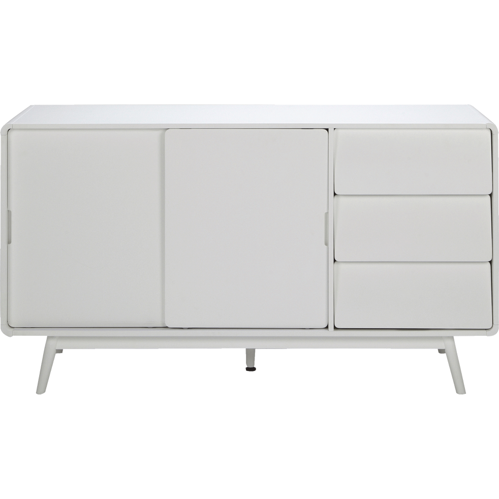 Buffet rétro blanc 3 tiroirs et 2 portes coulissantes-AUBUN