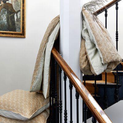 Lot de 2 taies d'oreiller en lin motif Amande - blanc capelan 65x65cm-GOYA