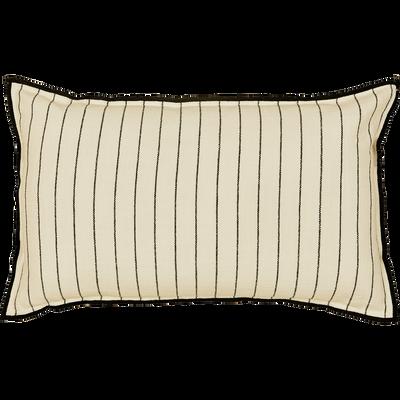 Coussin brodé en coton noir et blanc 30x50 cm-BADIANE