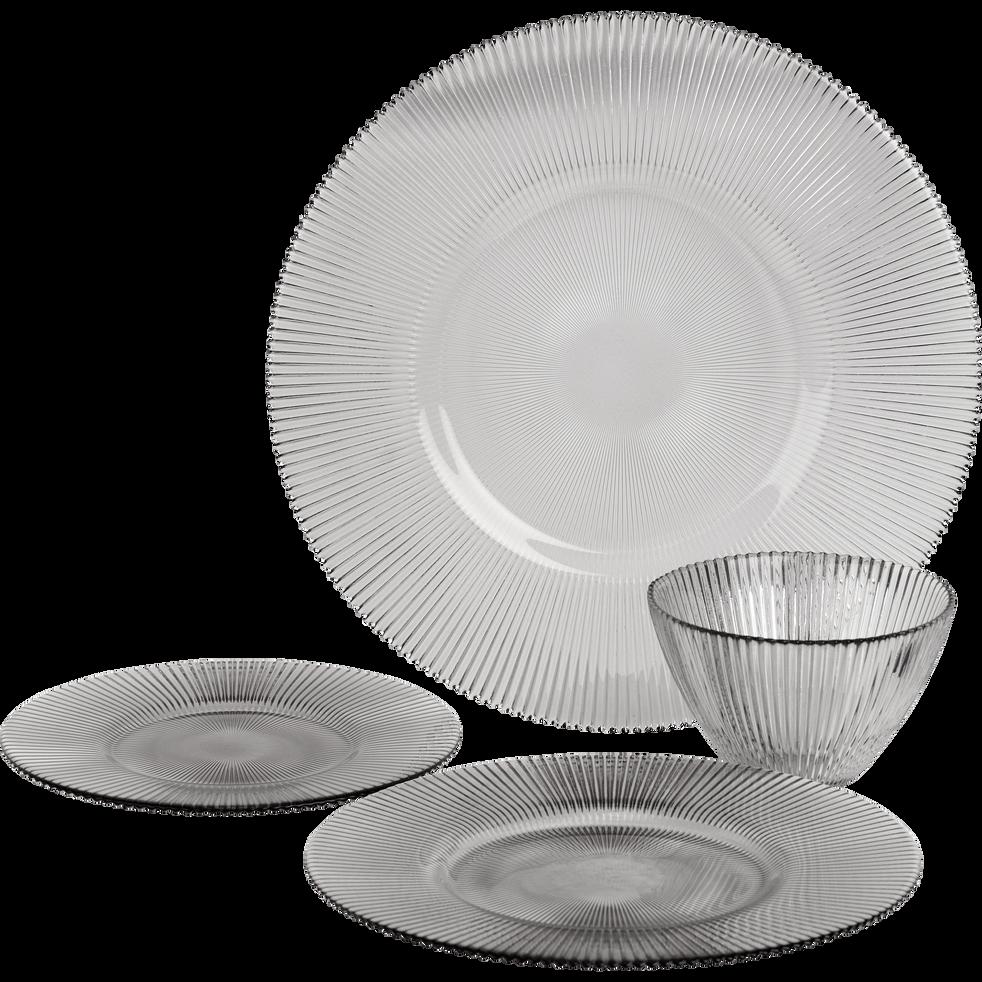 Assiette plate en verre gris clair D28.5cm-SUPERBE