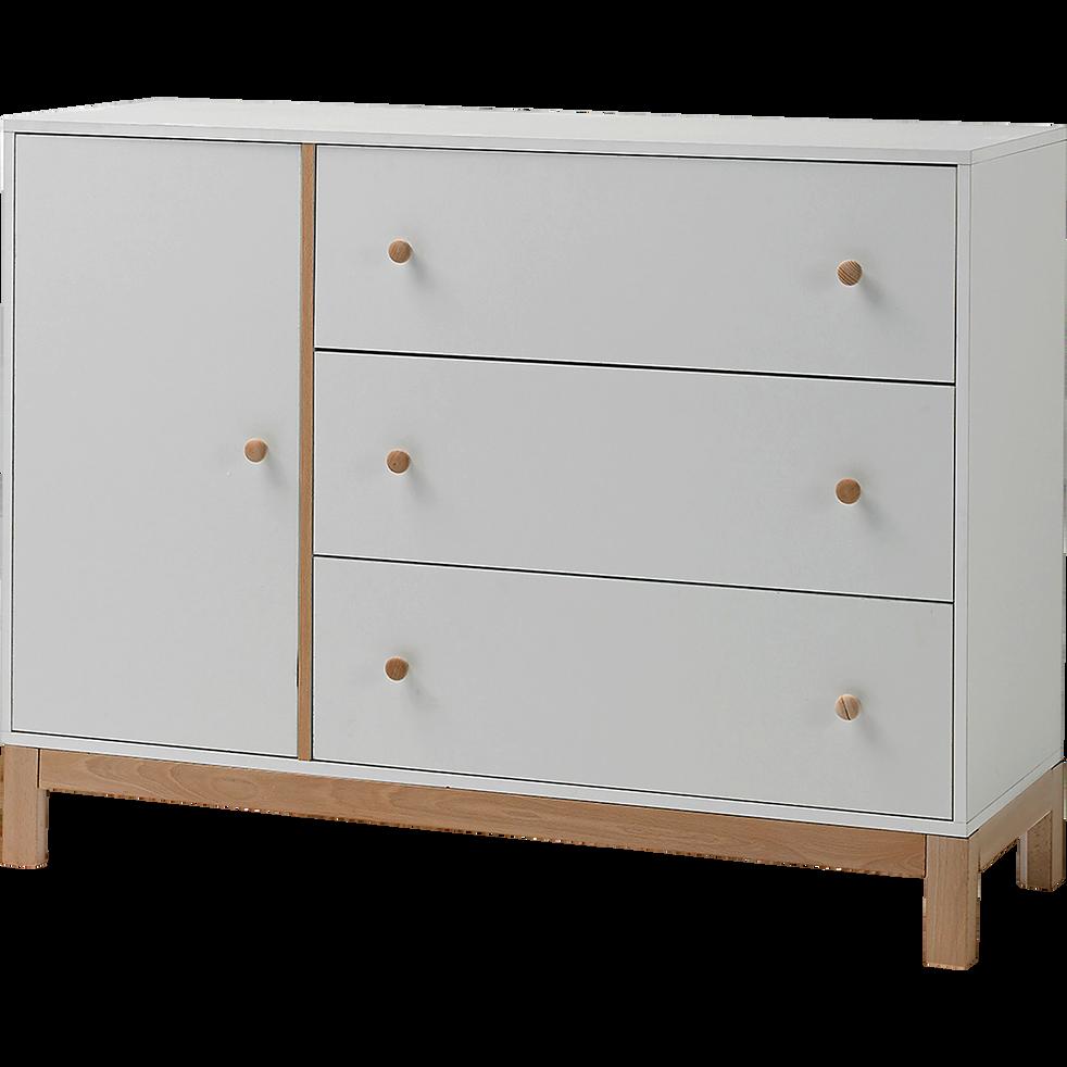 Commode 3 tiroirs et 1 porte blanc en bois-IZY