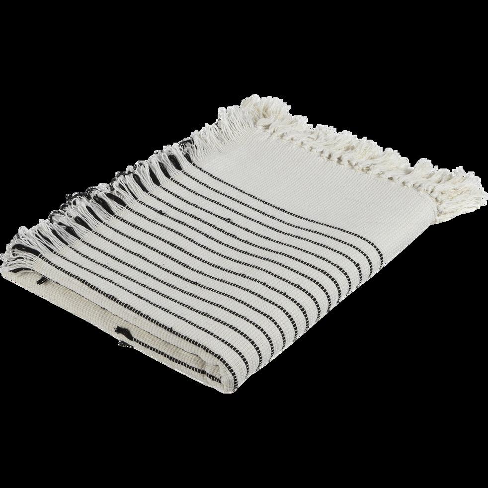 plaid tiss en coton cru et noir 130x170cm mali 130x170 cm plaids alinea. Black Bedroom Furniture Sets. Home Design Ideas