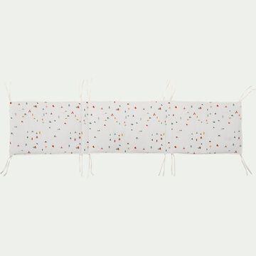 Tour de lit bébé en coton bio avec imprimé - blanc-Cabane