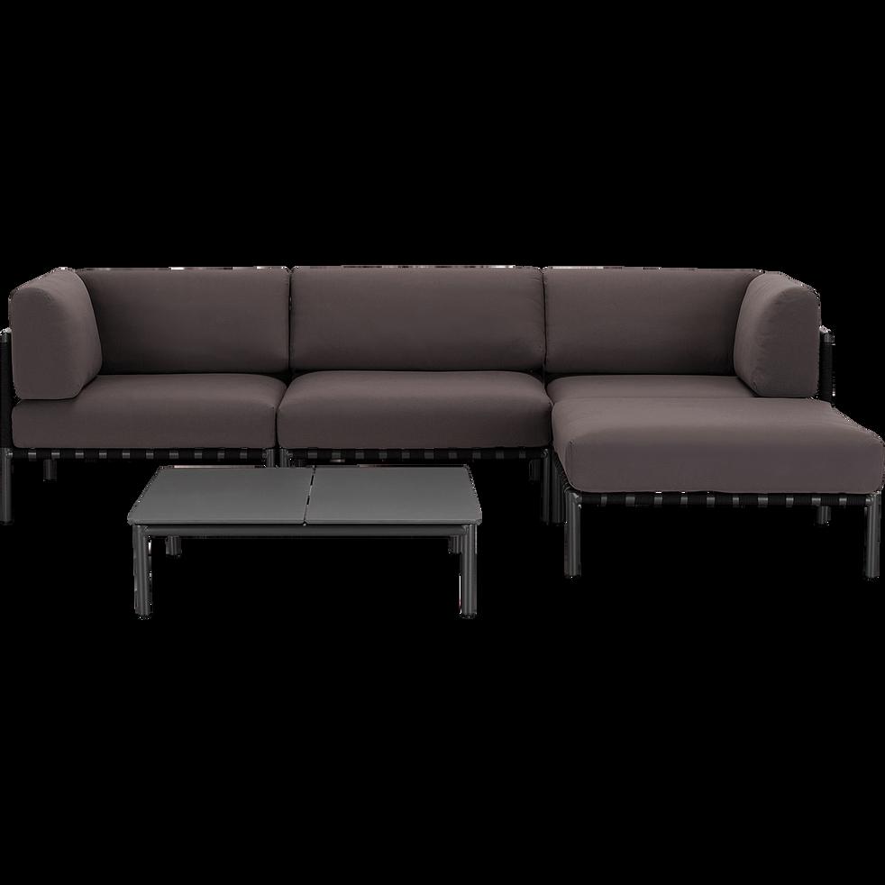ALEX - Salon intérieur/extérieur en aluminium gris (4 places)