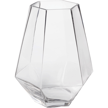 Vase en verre à pans coupés transparent (H21cm)-INOA