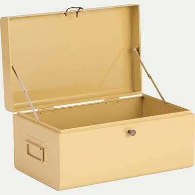 Malle de rangement en métal beige l44xH21xP27cm-ALSA