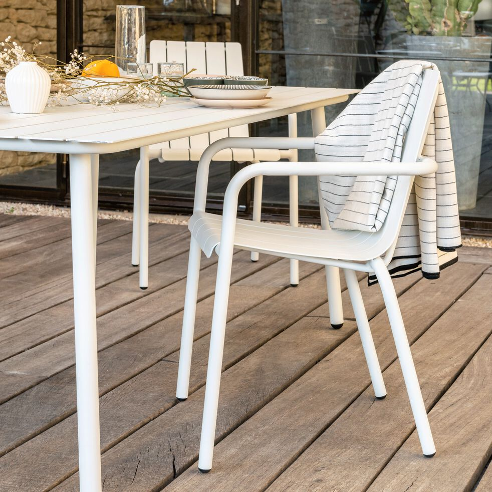 Chaise de jardin en aluminium empilable avec accoudoirs - blanc-CENOZA