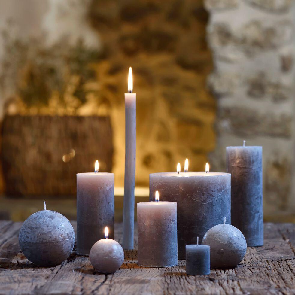 Lot de 2 bougies flambeaux - vert olivier H30cm-BEJAIA