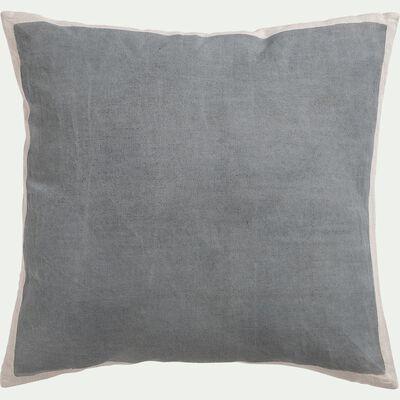 Coussin sérigraphié en lin et coton - gris 45x45cm-OTA