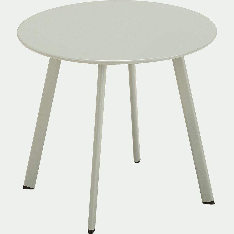 Table basse ronde en acier D45cm - vert olivier-ELIO