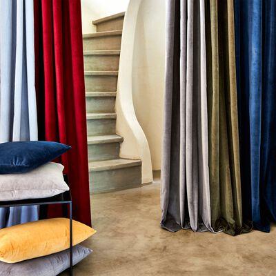 Rideau à œillets en velours - bleu figuerolles 140x250cm-EDEN