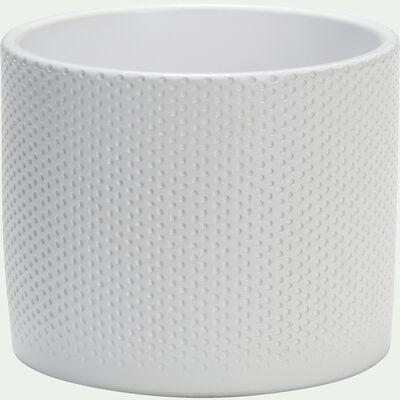 Pot en céramique blanc - H14,5xD17,5cm-ERA