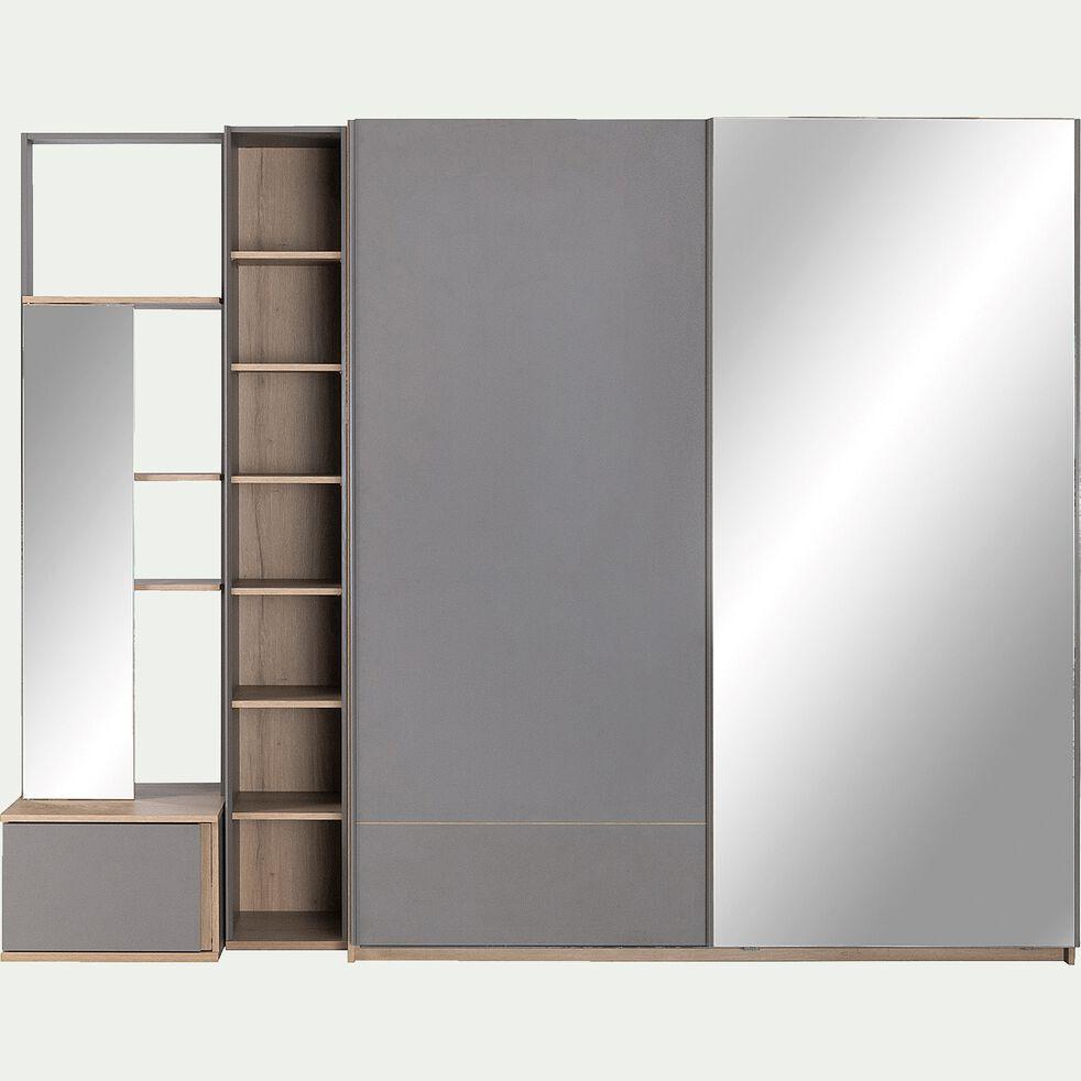 Bibliothèque de dressing effet chêne gris-NESTOR