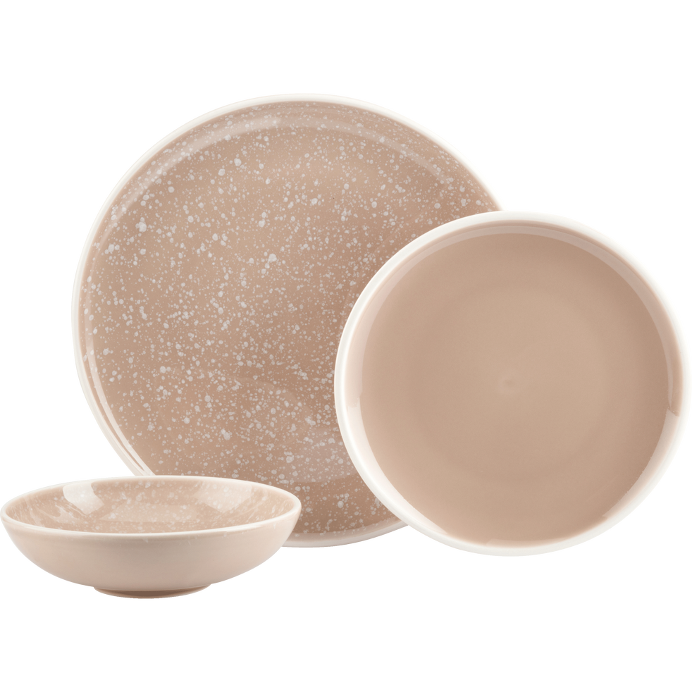 Assiette plate en faïence rose argile D27cm-CAMELIA