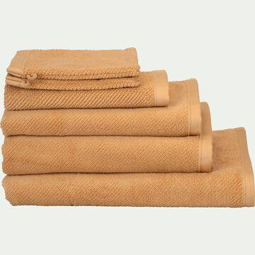 Linge de toilette bouclette en coton bio -marron camel-COLINE