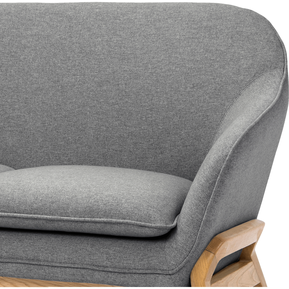 Canapé 2 places fixe en tissu gris-VIK