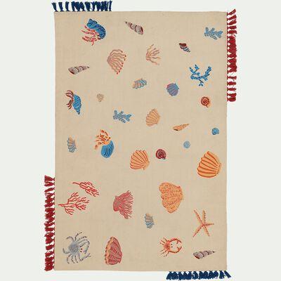 Tapis en coton tissé plat imprimé animaux marins - multicolore 120x180cm-Trésor