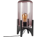 Lampe à poser en verre fumé et bois H41cm-MARTIA