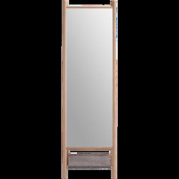 Miroir sur pieds en frêne et feutrine Gris clair - H164 cm ...