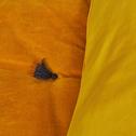 Édredon en velours jaune avec piquage pompons 100x180cm-EDEN