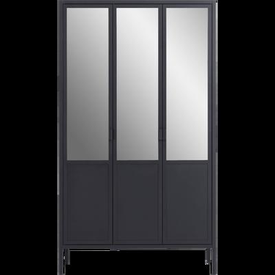 Armoire 3 portes battantes réversibles avec miroirs en acier Noir-ANVERS