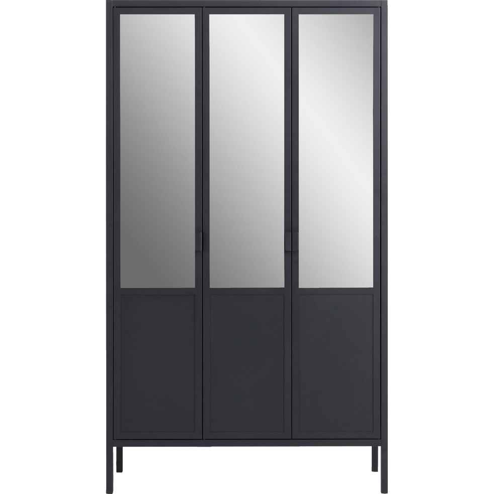 armoire 3 portes battantes r versibles avec miroirs en acier noir anvers armoires alinea. Black Bedroom Furniture Sets. Home Design Ideas