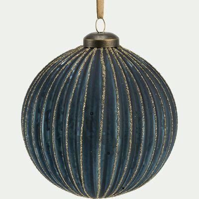Boule de Noël en verre bleu D10cm-DUROC