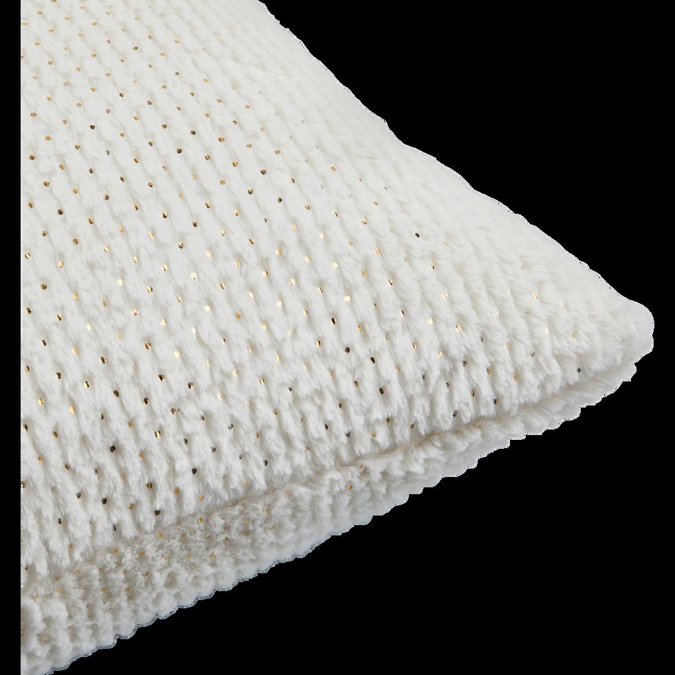 Coussin effet fourrure coloris blanc à pois dorés 50x50cm-DOLLY