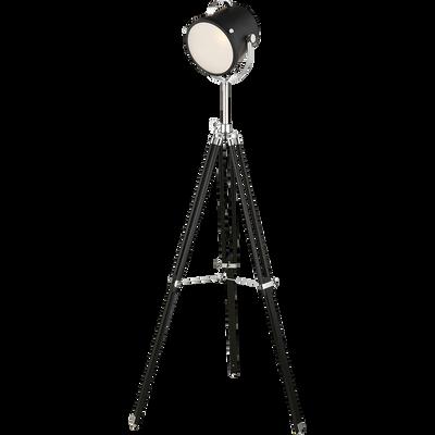Lampadaire en métal et bois noir forme projecteur H157,5cm-WOODY