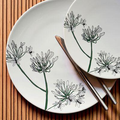 Assiette plate en porcelaine blanc ventoux décorée D27cm-AGAPANTHE