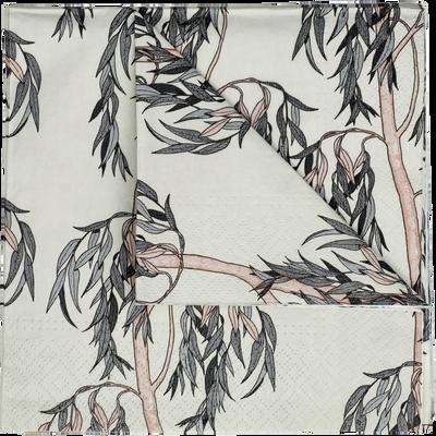 Lot de 20 serviettes en papier beige décoré 33x33cm-SAULE