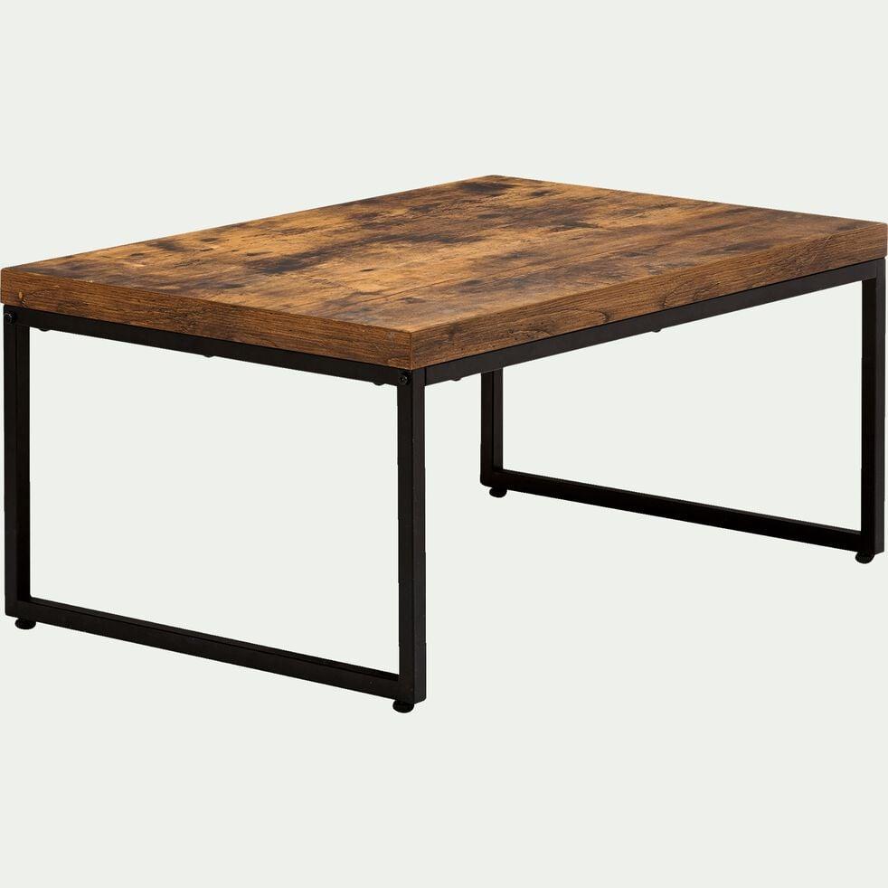 Table basse rectangle effet bois et acier - marron-MANILLE