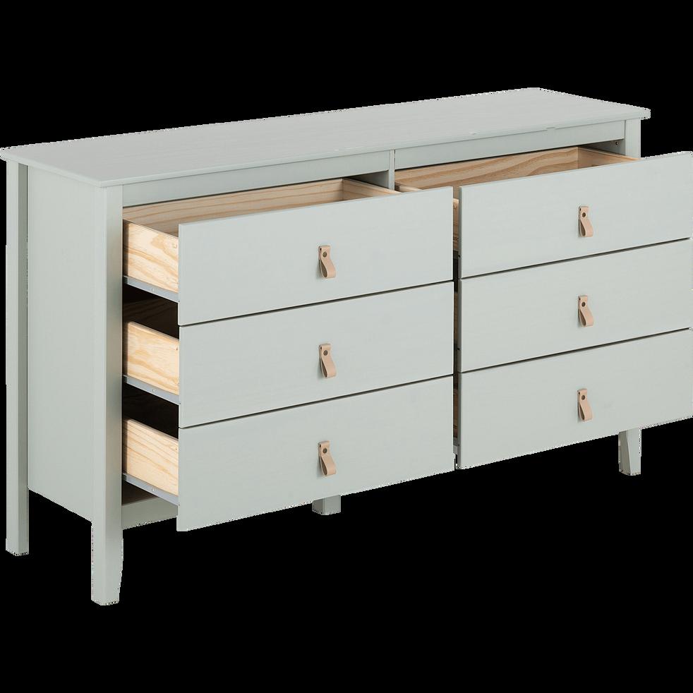 commode en pin massif 2x3 tiroirs vert olivier lison. Black Bedroom Furniture Sets. Home Design Ideas