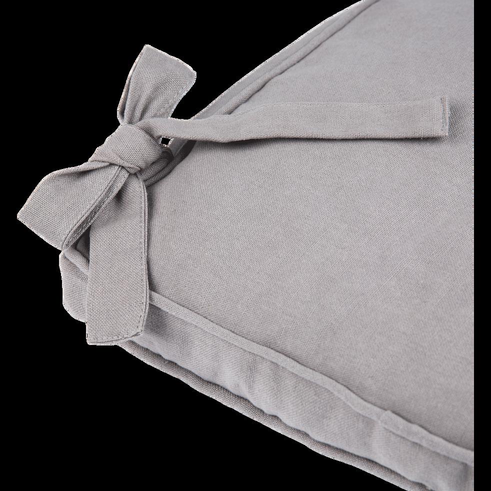 Galette de chaise carrée en coton gris restanque 38x38cm-BORMES
