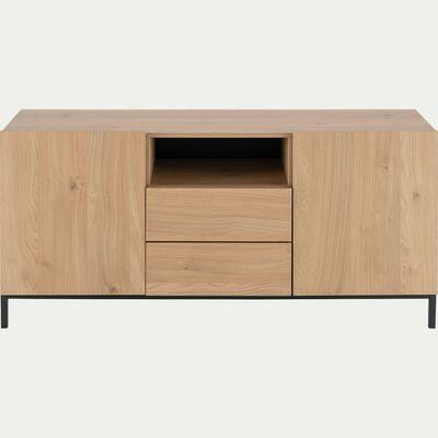 Buffet en bois 2 portes et 2 tiroirs avec passe câble - bois clair-LEGNANO