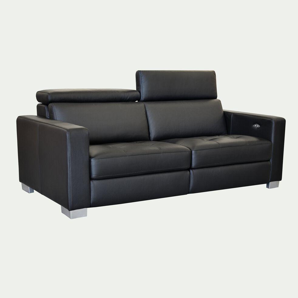 Canapé de relaxation 2 places en cuir accoudoir 15 cm - noir-MAURO