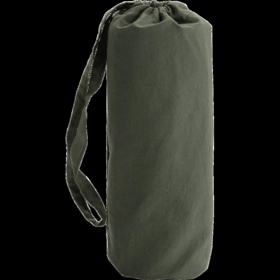 Drap housse en percale de coton lavé 70x140cm vert cèdre-PALOMA