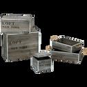Caisse/tiroir en bois effet vieilli 40x30xh12cm-Loft