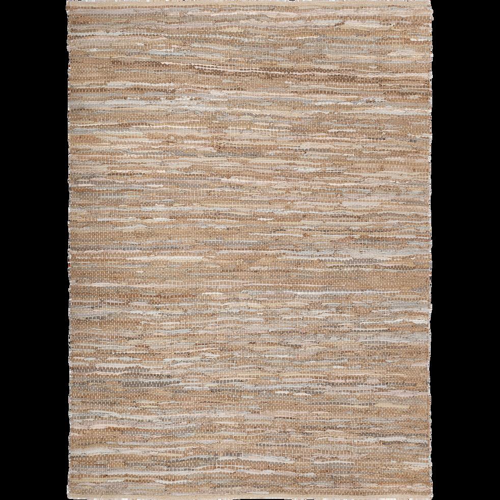 Tapis tressé en cuir marron 150x200 cm-MARIELLE