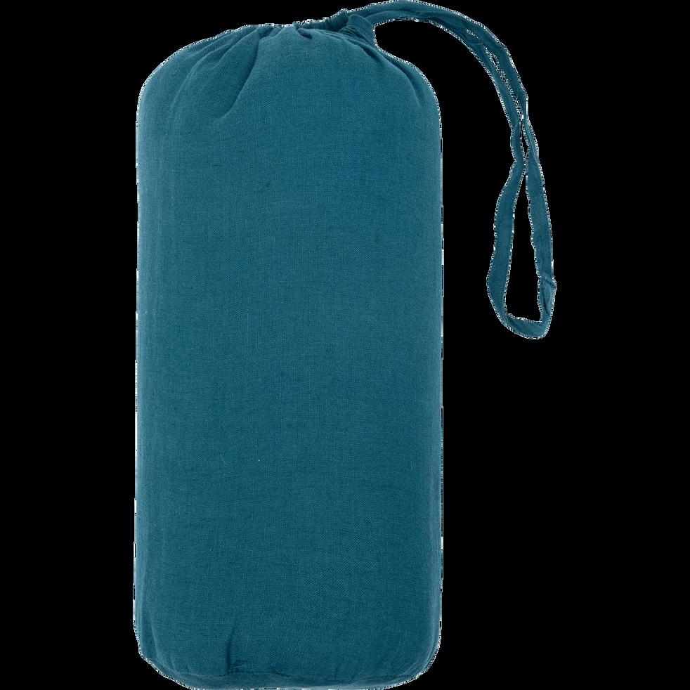 drap housse en lin lavé bleu figuerolles 90x170cm-VENCE