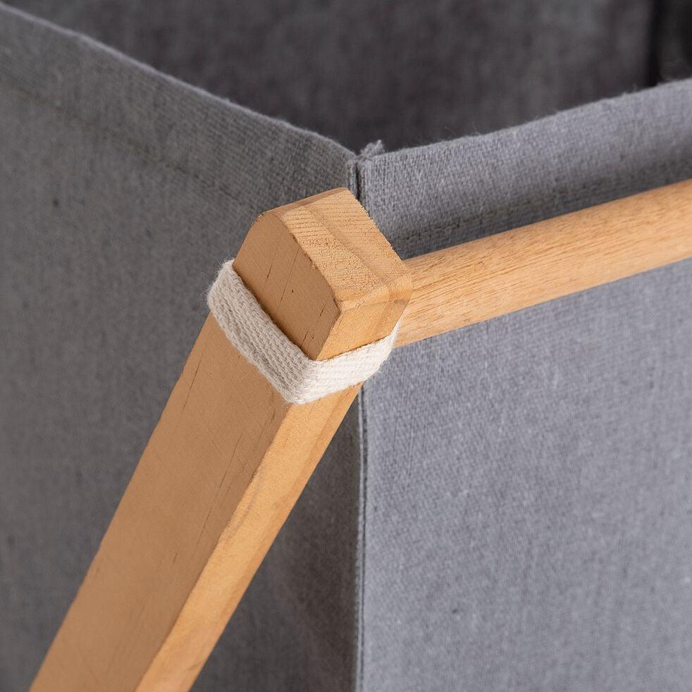 Panier à linge en coton et pin - gris H61cm-PACO