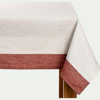 Nappe en lin et en coton - beige et rouge arcilla 170x170cm-SIL