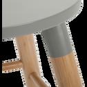 Tabouret bicolore gris et bois - H45cm-GERMAIN