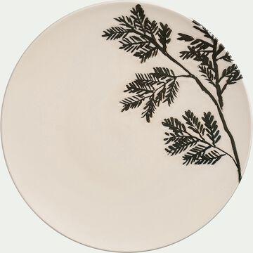Assiette plate en faïence - blanc D27cm-FOGLIA